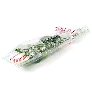 Baseball Rose in Clear Case Gift Arrangement MAIN