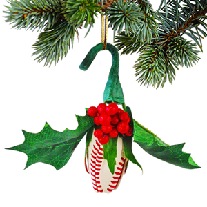 Baseball Rose Christmas Ornament with Gift Box MAIN