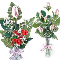 Baseball Rose Vase Arrangement  - Baseball gifts for home or office THUMBNAIL