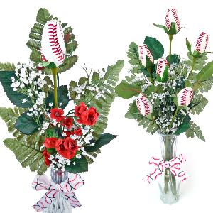 Baseball Rose Vase Arrangement MAIN