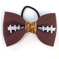 Handmade Football Hair Bow made from real football leather with metallic gold velvet ribbon center THUMBNAIL