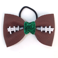 Handmade Football Hair Bow made from real football leather with metallic green velvet ribbon center THUMBNAIL