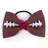 Handmade Football Hair Bow made from real football leather with metallic pink velvet ribbon center THUMBNAIL