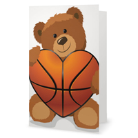 Basketball Heart Greeting Card THUMBNAIL