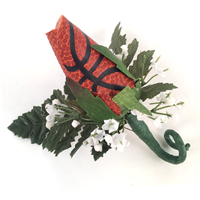 Basketball Rose Boutonnieres for football themed weddings, prom, homecoming THUMBNAIL