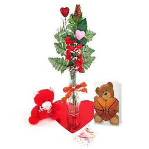 Basketball Rose Valentine's Day Vase Arrangement MAIN