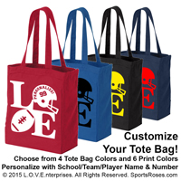 Football LOVE Canvas Tote Bag THUMBNAIL