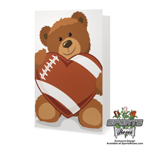 Valentine's Day Football Heart Greeting Card MAIN