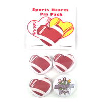 Football Hearts Pin Back Buttons Pack THUMBNAIL