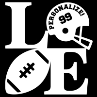 Football LOVE Decal THUMBNAIL