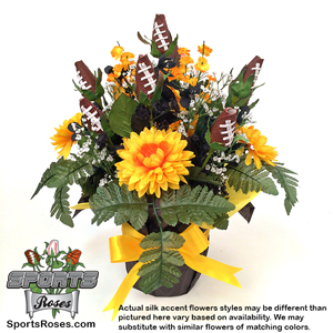 Football Rose Centerpiece Arrangment (Black and Yellow) MAIN