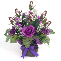 Football Rose Centerpiece Arrangment (Purple and Black)_THUMBNAIL