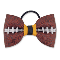 Handmade Football Hair Bow made from real football leather with Navy Blue Silver ribbon THUMBNAIL