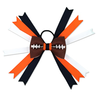 Handmade Football Hair Bow made from real football leather with blue orange white ribbon THUMBNAIL
