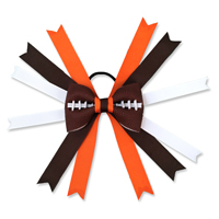 Handmade Football Hair Bow made from real football leather with Brown Orange White ribbon THUMBNAIL
