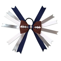Handmade Football Hair Bow made from real football leather with Navy Blue Silver White ribbon THUMBNAIL