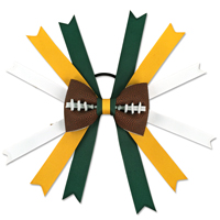Handmade Football Hair Bow made from real football leather with Green Yellow White ribbon THUMBNAIL
