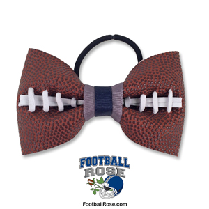 Basic Football Hair Bow - Navy Blue and Silver MAIN