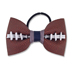 Basic Football Hair Bow - Navy Blue and Silver SWATCH