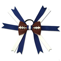 Handmade Football Hair Bow made from real football leather with Royal Blue and White ribbon THUMBNAIL