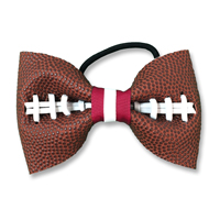 Handmade Football Hair Bow made from real football leather with Maroon White ribbon THUMBNAIL