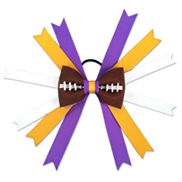 Handmade Football Hair Bow made from real football leather with Purple Yellow White ribbon THUMBNAIL
