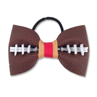 Handmade Football Hair Bow made from real football leather with Red Old Gold ribbon THUMBNAIL