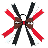 Handmade Football Hair Bow made from real football leather with red, black and white ribbon THUMBNAIL