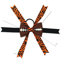 Handmade Football Hair Bow made from real football leather with Orange and Black Tiger Print ribbon THUMBNAIL