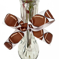 Football Ribbon 7/8 Inch Grosgrain - Use for gifts, cheerleader hair bows, vases THUMBNAIL