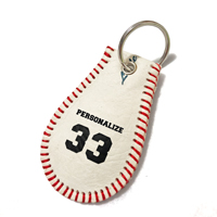 Genuine Leather Baseball Key Chain THUMBNAIL