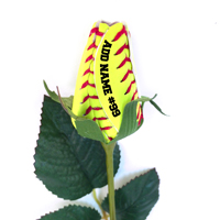Softball Rose Long Stem - Softball Themed Gifts THUMBNAIL