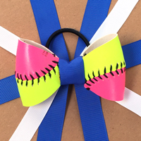 Handmade Pink/Yellow Softball Hair Bow made from real softball leather THUMBNAIL