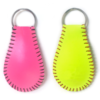 Pink and Yellow Softball Key Chain THUMBNAIL