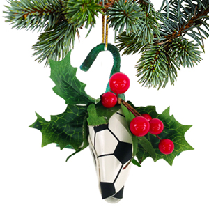 Soccer Rose Christmas Ornament with Gift Box MAIN