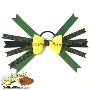 Softball Hair Bow - Green Camouflage MAIN
