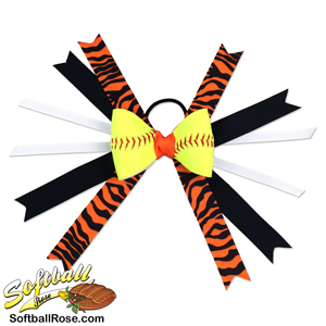 Softball Hair Bow - Black Orange Zebra MAIN