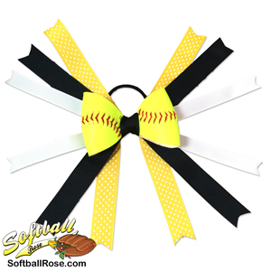 Softball Hair Bow - Black Yellow Polka Dots_MAIN