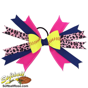 Softball Hair Bow - Blue Pink Cheetah_MAIN