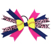 Softball Hair Bow - Blue Pink Cheetah_SWATCH