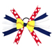 Softball Hair Bow - Blue Red Polka Dot SWATCH
