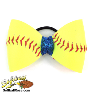 Softball Hair Bow - Blue Sparkle MAIN