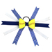 Softball Hair Bow - Blue White Chevrons SWATCH