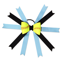 Handmade Softball Hair Bow made from real softball leather THUMBNAIL