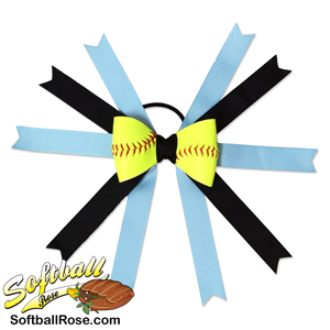 Softball Hair Bow - Carolina Blue Black MAIN