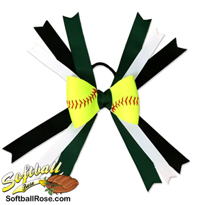 Softball Hair Bow - Forest Green Black MAIN