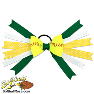 Softball Hair Bow - Green Yellow Polka Dot_MAIN