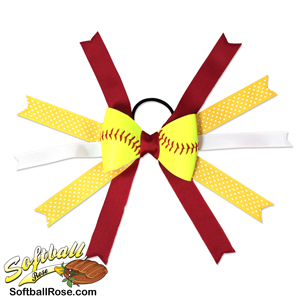 Softball Hair Bow - Maroon Yellow Polka Dots MAIN