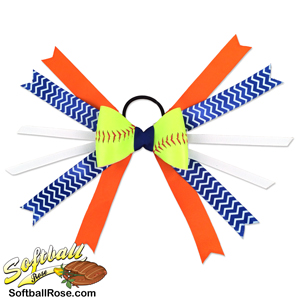 Softball Hair Bow - Orange Blue White Chevrons MAIN