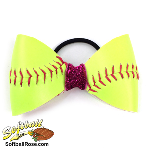 Softball Hair Bow - Pink Sparkle MAIN